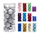 Prudance 24ct Christmas Balls Ornaments Multicolor Decorations Tree Balls for Holiday Wedding Party Decoration,1.57',Silver