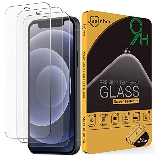 Jasinber 3-Pack Mica Cristal Templado con protección de Sensor FaceID Compatible con iPhone 12/12 Pro 6.1 Pulgadas