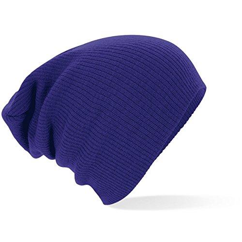 Beechfield Unisex Slouch Beanie Baseball Cap, Violett (Purple 000), One Size