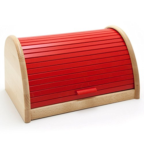 HolzFee BK-BR Buche Brot-Kasten 39 cm Holz Brotbox Rollkasten (Rot)