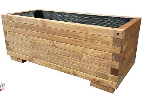 TOTAL WOOD 2012 Fioriera in Legno portavaso Vaso per Piante con Guaina Interna 100x40x45 cm impregnata e inguainata
