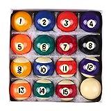 GU YONG TAO Juego de Bolas de Piscina Profesional de 2-1/4'- Juego de Bolas de Billar de Mesa de tamaño reglamentario - Accesorios de Billar de Material Seguro de Resina