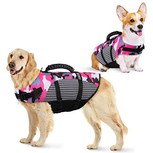 KOESON Dog Life Jacket Ripstop Pet Safety Life Vest, Adjustable Dogs Lifesaver Vest with Enhanced Buoyancy and Rescue Handle, Camouflage Swimsuit Preserver for Small Medium and Large Dogs (Pink, M)