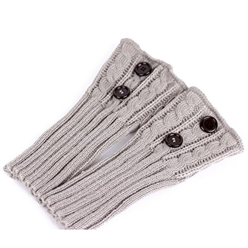 Pixnor Damen stricken Stulpen Socken Gestrickte kurzer Punkt Legwarmer Boot-Abdeckung Socken Hellgrau