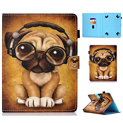 HereMore Universal Case for 9-10.1 Inch Tablet, Leather Stand Cover Protective Shell for Fire HD 10, Huawei MediaPad T3/T5 10, Fusion5 10.1', Galaxy Tab A 10.1/Tab E 9.6, Lenovo Tab 3 10.1, Dog