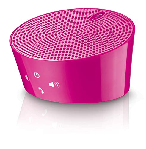 Allcam Portable Bluetooth Speaker w/Noise-reduction Mic Car Handsfree Kit for Smartphones and Tablets in Pink