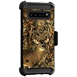 MINITURTLE Compatible with Samsung Galaxy S10 5G G977 Triple Layer Belt Clip Holster Armor Kickstand Case [Max Guard] - Deer Hunting Camo