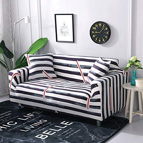 Funda Elástica para Sofá Cubierta del sofá Funda de sofá Funda elástica Protectora para sofá Material de poliéster a Rayas Rojas Negras Viene con 3 Fundas de Almohada