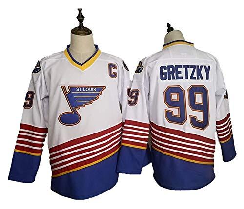 Wayne Gretzky # 99 St. Louis Blues Eishockey Trikots NHL Männer Sweatshirts atmungsaktiv T-Shirt (Color : White, Size : Medium)