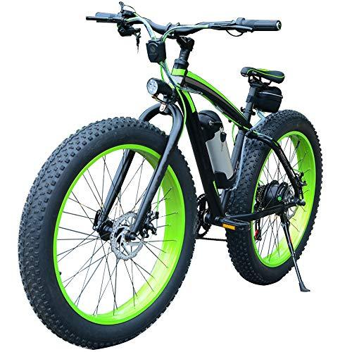 H&J Elektro-Offroad-Mountainbike 26 Zoll Schneereifen Elektro-Fahrrad-Geschwindigkeit bis zu 30 km/h mit Beleuchtung und Lautsprechern (36 V / 350 W Wechselakku)