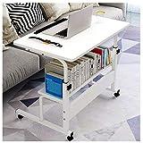 Mesa Auxiliar Escritorio Móvil con Ruedas para Ordenador Portátil Laptop, para Cama Sofá, Mesa Ajustable en Altura (Color : White)
