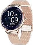hwbq Reloj inteligente para mujer, resistente al agua, rastreador de actividad, pulsera inteligente, Bluetooth, reloj deportivo con llamada entrante y recordatorio de SMS dorado