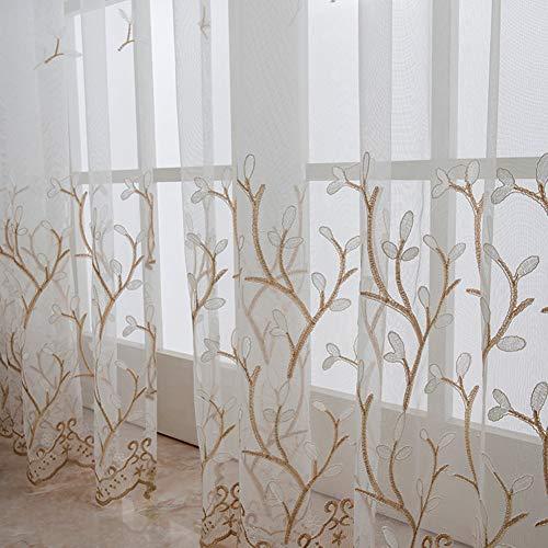 ZYY-Home curtain Bordado Ramas Visillos Cortinas Modernos con Ojales Voiles Cortinas 2 Paneles, para Salón Habitación Y Dormitorio,W120xL140cm