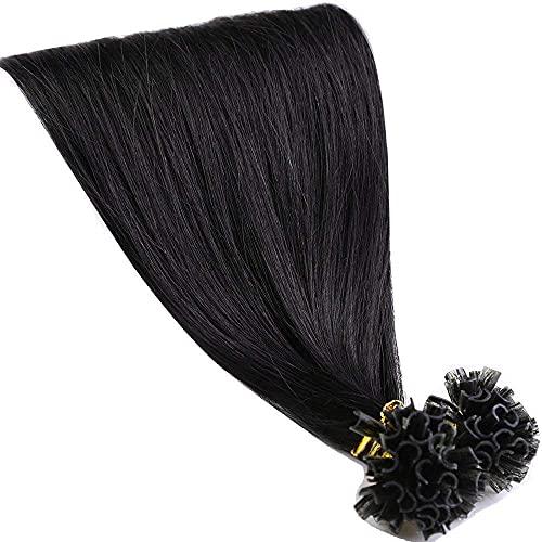 Extension Capelli Veri Cheratina Neri 100g 50cm U Tip 100% Remy Human Hair Pre Bonded Keratina Allungamento, 200 Ciocche 1B# Nero Naturale