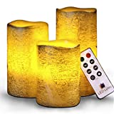 Battery Operated Flameless Candles Set of 3 Round Rustic Gold Coated...