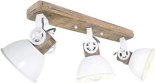 Lámpara de techo de madera, color blanco, foco giratorio, iluminación de trabajo, habitación, piedra de 2133 W