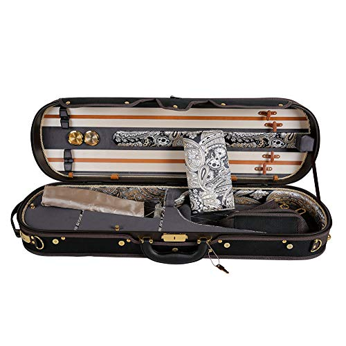 ADM Professional Sturdy Violin Case 4/4 Full Size, Oblong Deluxe Acoustic Violin Case Silk Interior with Hygrometer, Lock, Thermometer and Adjustable Straps