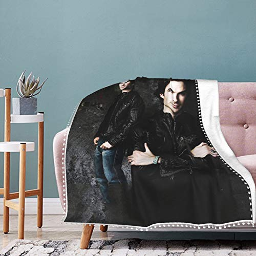 EAROBA Pompom Fringe Blanket Fashion 2020 Ian-Somerhalder Warm Plush Cozy Soft Blankets for Chair/Bed/Couch/Sofa Throw for Adults Children 60'X50'