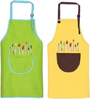 O-Kinee Tablier Enfant, 2 Pièces Tablier Enfants avec Poches, Tablier Peinture Enfant, Réglables Kids Tablier de Chef pour...