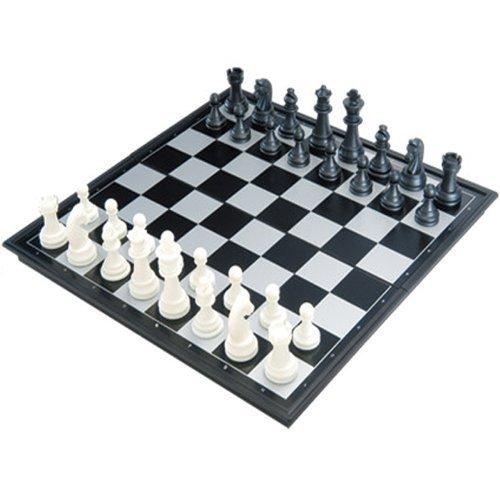 【磁石つき】 マグネット式 本格サイズ チェスセット チェス盤 便利な収納ケース型 25cm