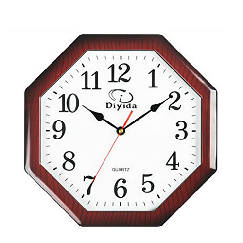 Wall clock 11 inch shaped plastic wall clock simple creative gossip mute modern Chinese red star anise watch (29 29 3.5cm)