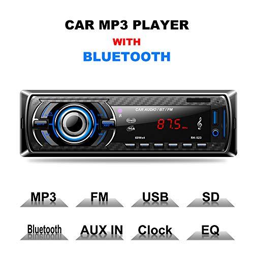 Bluetooth autoradio, auto radio handsfree auto FM MP3-speler 1 DIN USB/SD/AUX-aansluiting met afstandsbediening en ISO-kabel 4 x 60 W autoradi