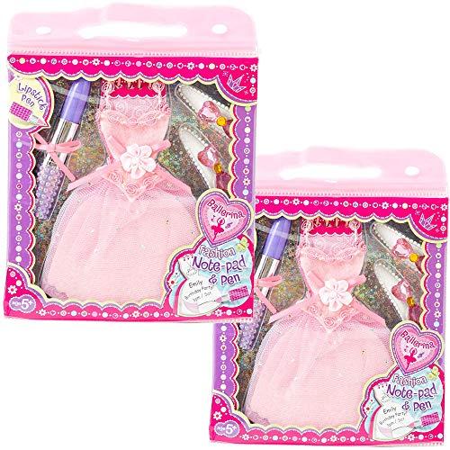 PECOWARE メモ帳 ボールペン ヘアクリップ セット バレエ ドレス型 リップスティック型 ピンク 文房具 ノート ペン ヘア クリップ 雑貨 子供 キッズ こども 女の子 ギフト (ピンク)