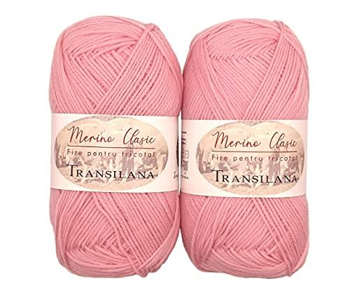 Ovillos de lana merino 100% para tejer y ganchillo, 200 g (2 x 100 g) fabricados en la UE (rosa C2000)