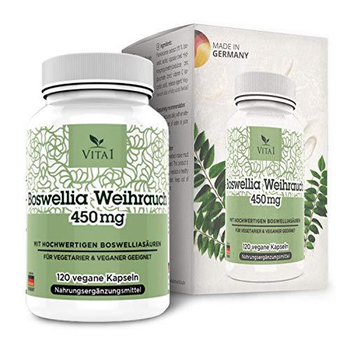 Incenso Boswellia Serrata 450mg di VITA1 • 120 capsule (fornitura per 2 mesi) • Senza glutine, vegano, kosher e halal • Fatto in Germania