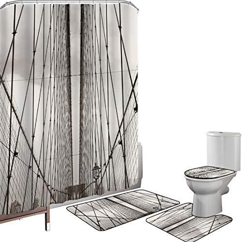 Juego de cortinas baño Accesorios baño alfombras York Alfombrilla baño Alfombra contorno Cubierta del inodoro Cables del puente de Brooklyn Ciudad de Nueva York Centro de la ciudad Fotografía Horizont