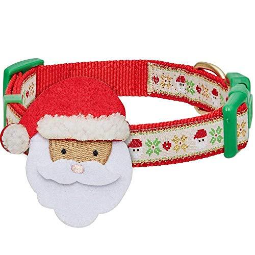 Blueberry Pet 4 Patterns Christmas Festive Adjustable Dog Collar with Santa Décor, Medium, Neck 14.5'-20'