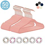 IEOKE Kids Velvet Hangers,50 Pack Children Clothes Hangers Ultra Thin Non Slip Clothes Racks with 6 Pcs Baby Clothing Dividers(Pink)
