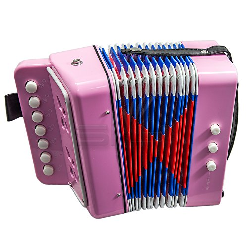 SKY Accordion Light Pink Color 7 Button 2 Bass Kid Music Instrument Easy to PlayGREAT GIFT
