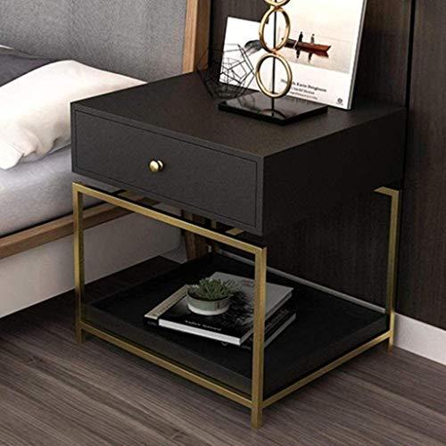 Mesita de noche, mesita de noche, dormitorio, mesita de noche, gabinete de almacenamiento, práctico mueble (color: negro)