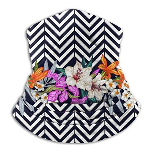 Neck Gaiter Face Mask Flower Lines Geometric figure Balaclavas Headwear Bandana Dustproof UV CUT Adjustable Neck Warmer for Women