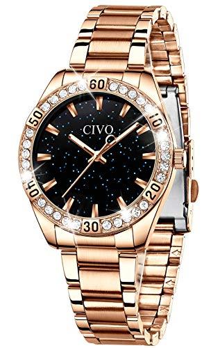 CIVO Relojes Mujer Impermeable Oro Rosa Elegante Reloj de Cuarzo Acero Inoxidable Relojes de Pulsera Moda Vestir Negocio