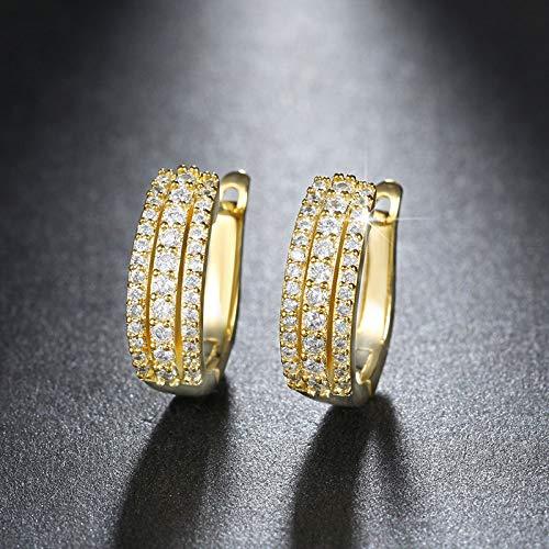 NA - Pendientes de aro para mujer, estilo vintage, redondos con brillantes circonitas cúbicas, Gold-color