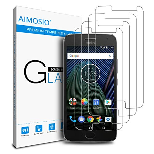 AIMOSIO [4-Pack] for Moto G5 Plus Screen Protector,Tempered Glass Film Anti-Scratch Case Friendly 2.5 D Curved Edge High Definition 99% Touch Accurate