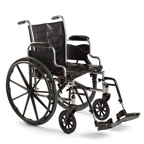 D-Q Autopropulsada plegable silla de ruedas Widen espesa la silla de ruedas for personas obesas, personas mayores, discapacitados, personas de movilidad reducida con silla de ruedas desmontables Usuar