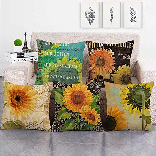 KUNQIAN Cushion Covers 5 Pieces Linen Throw Pillow Covers Case Square For Sofa Home Decorative Livingroom Bed Office Car Waist (Without Core) 18x18inch sunflower