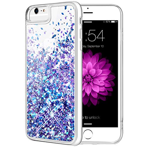 Caka iPhone 6 6S 7 8 Case, iPhone 6S Glitter Case with Tempered Glass Screen Protector Bling Flowing Floating Luxury Glitter Sparkle Soft TPU Liquid Case for iPhone 6 6S 7 8 (4.7 inch) (Blue Purple)