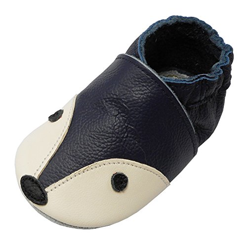YIHAKIDS Bébé Filles Garçons Chaussures Cuir Souple Enfant Chaussons Cuir Doux Chaussures Premiers Pas Dessin Renard,Bleu Marine(24-36 Mois/Size XXL, 26 EU)