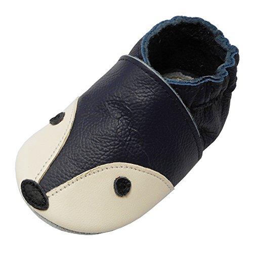 YIHAKIDS Bébé Filles Garçons Chaussures Cuir Souple Enfant Chaussons Cuir Doux Chaussures Premiers Pas Dessin Renard,Bleu Marine,12-18 Mois(Large)