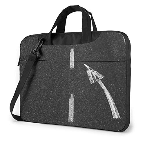 15.6 inch Laptop Shoulder Briefcase Messenger Turn Left Road Marking Pattern On Asphalt Road Tablet Bussiness Carrying Handbag Case Sleeve