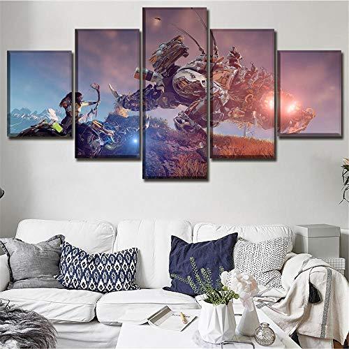 Canvas HD afgedrukt 5 stukken Aloy Thunderjaw Robot dinosaurus spel Horizon Dawn schilderij Wall Art Home decoratief kader