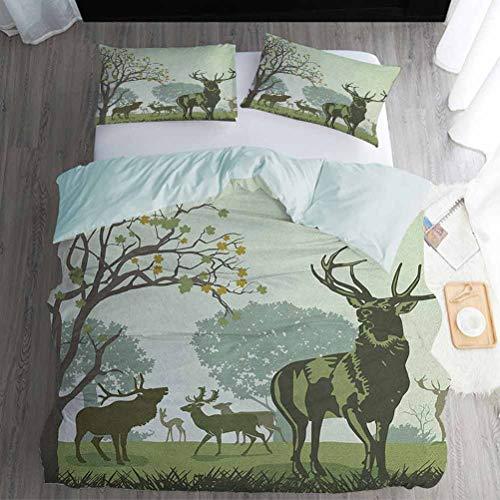 Bed Sheet Set Full Size, Antlers 3pcs Bedding Set - Deer and Wildlife in Park World Natural Heritage Forest Areas Reindeer Nature Scene, Green