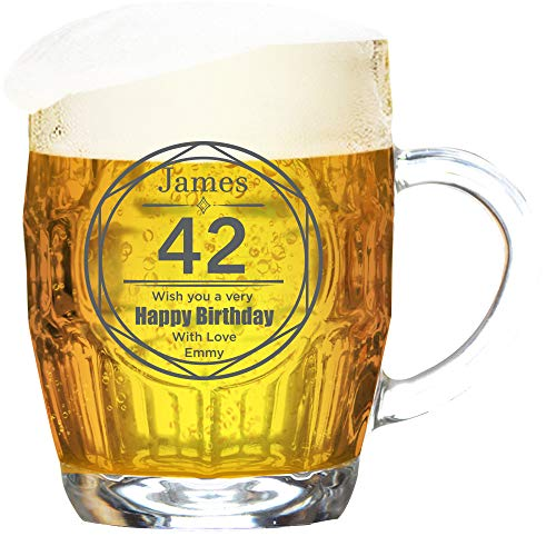 Personalised Birthday Tankard Glass Dimple Engraved/Circle Design Lines/Traditional/1 Pint/20 Ounces/Gift Box