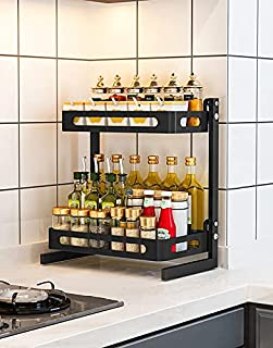 Stainless Steel Seasoning Organizer Spice Rack With Baking Paint Belvery 2 Tiers Metal Stand Large Kitchen Organizer For C...