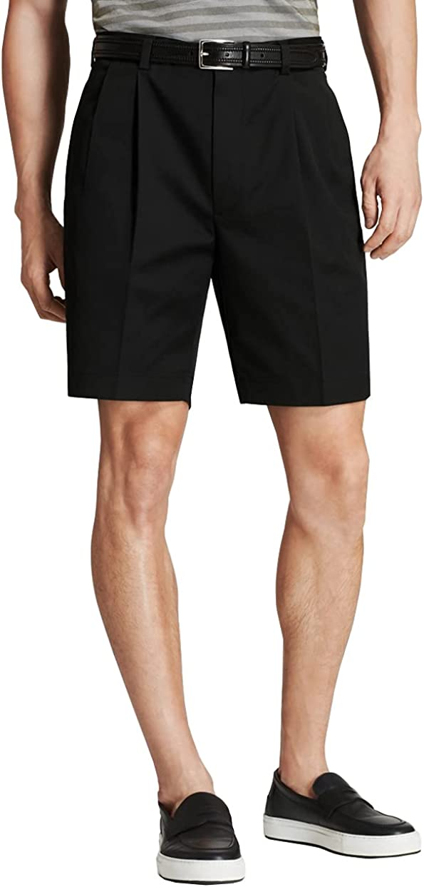 Brooks Brothers Men's 100141 Pleated Front Lightweight Stretch Advantage Chino Shorts, Black