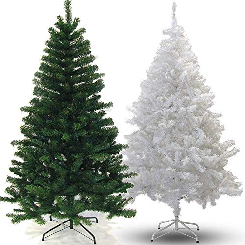 Classic Artificial Realistic Natural Branches Pine Christmas Tree Xmas Green-Unlit 4FT, 5FT, 6FT,7FT (Green, 7ft with metal stand)